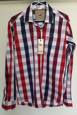 AU18 • Buy Hollister California Long Sleeved Red Blue & White Checked Shirt Size M