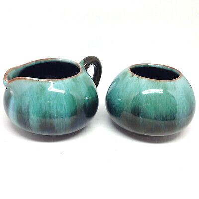 $ CDN24.95 • Buy Vintage Blue Mountain Pottery Cream & Sugar BMP Green Glaze Felt Base Canada
