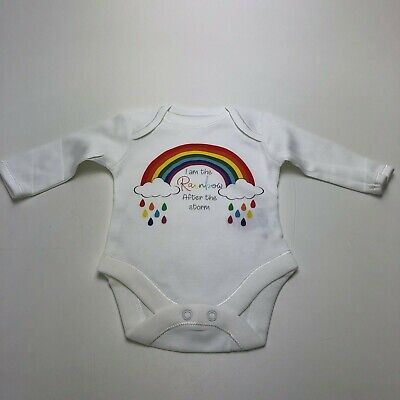 I Am The Rainbow After The Storm Long Or Short Sleeve White Baby Grow Vest  • 8£