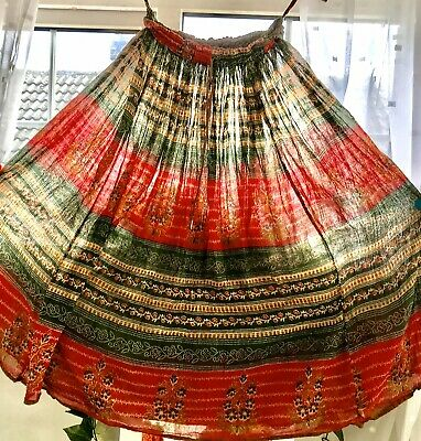 "Indian Cotton Hippy Boho Ethnic Skirt Waist 32"" • 5.99£"