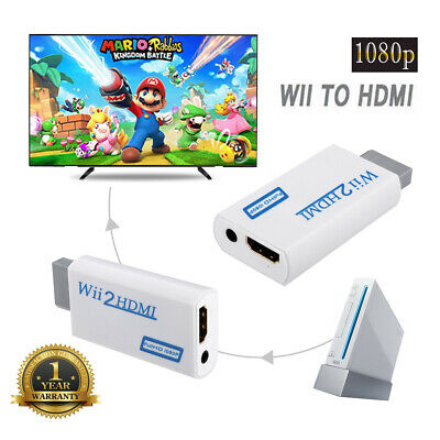 Wii Input To HDMI 1080P HD Audio Output Converter Adapter Cable 3.5mm Jack White • 0.99£