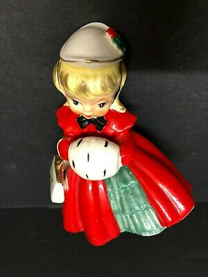 $ CDN68.09 • Buy Vintage Christmas Girl With Muff And Purse Inarco Japan  Figurine 1950's Red