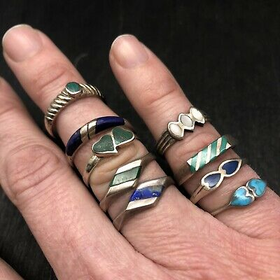 $ CDN35.79 • Buy Lot Of 9 Minimalist Sterling Silver Chip Inlay Rings / Turquoise / Lapis / 925