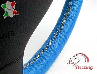 $48.73 • Buy For Chrysler Grand Voyager 01-04 Blue Leather Steering Wheel Cover, Yellow 2 Sti