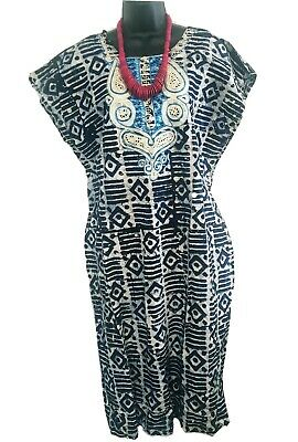 $38 • Buy African Womens Blue And Grey Dress W/ Gold And Blue Embroidery