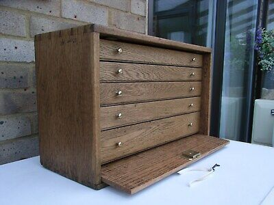 Vintage Wooden Oak Tool Chest/medal/coin Collectors Cabinet/craft/sewing Box • 87£