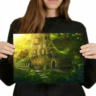 MYSTICAL FAIRY WOODLAND FOREST TREE CANVAS PICTURE POSTER PRINT UNFRAMED #818