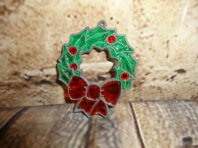 $ CDN13.37 • Buy Vintage 80's Makit Bakit Christmas Ornament Stained Glass Look Wreath