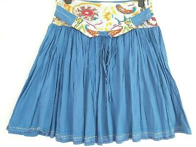 Boho Blue Embroidered Cotton Fit & Flare Knee Hippie Ethnic Skirt 14 Uk 42 Eur • 7.95£
