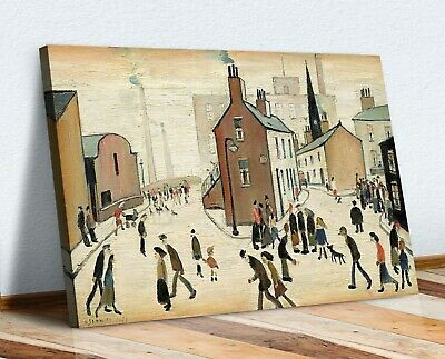 Ls Lowry Street Scene People CANVAS WALL ART PICTURE PRINT PAINTING FRAMED • 16.99£