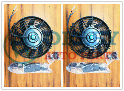 AU67.50 • Buy QLD Universal Two 9 Inch 12V Volt Electric Cooling Fan Thermo Fan + Mounting Kit