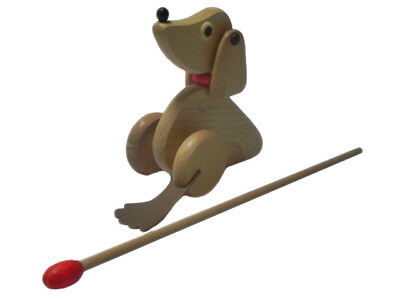 Wooden Push Along Toy Dog Animal Brown Eco Toy -not Too Loud - Super Fun For Kid • 11.49£