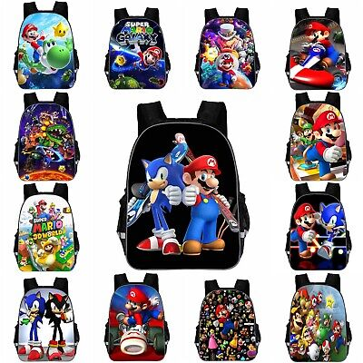 Boy Girls Super Mario Backpack Sonic School Bag Hedgehog Travel Rucksack 11 -18  • 11.19£