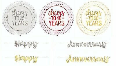 Wedding Anniversary Banner Silver Gold Ruby 6ft Wall Decoration Metallic Bunting • 2.49£