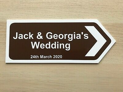 £9.99 • Buy PERSONALISED Wedding Direction Signs Arrow Bespoke Plaque Outdoor Sign Boards