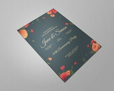 PERSONALISED Invites Anniversary Invitations Customised 10th 20th 30th 50th Etc • 14.99£