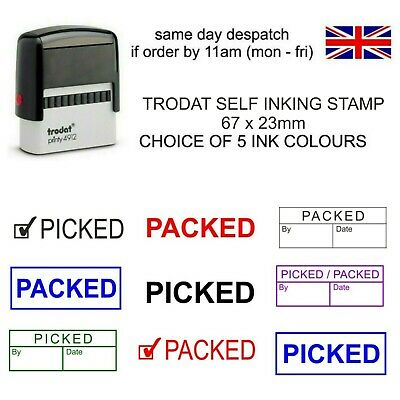 £9.75 • Buy Picked Packed By Rubber Stamp Self Inking 5 Ink Colours 11040 Factory Warehouse