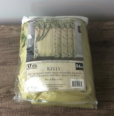 $25 • Buy Kelly Jacquard 54 X 84 In. Double Rod Pocket Curtain Panel With Attached 18 In.