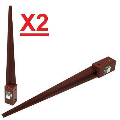 £15.99 • Buy X2 Fence Post Spike Support Holder 3 4 Bolt Grip Metpost 75 X75x750mm