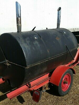 $1995 • Buy Large Custom Built BBQ Smoker / Grill With Rotisserie On Single Axle Trailer.