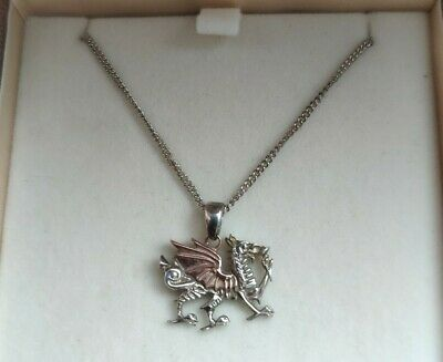 Clogau Gold Welsh Dragon Necklace - 925 Sterling Silver With Rose Gold Wings • 80£