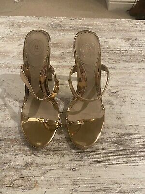 Miss Guided Heeled Gold Strappy Shoes - Size 5 • 5£