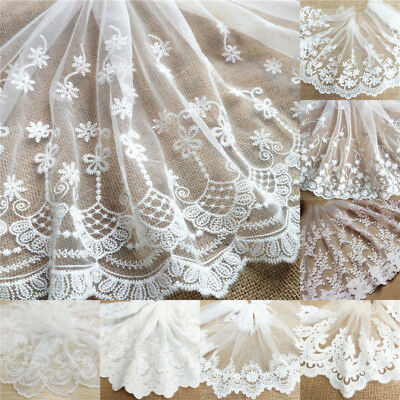 13M Floral Eyelash Embroidered Lace Trim Tulle Net Fabric Sewing Dress Crafts • 1.59£