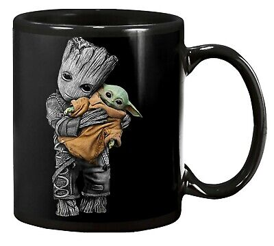 $18.99 • Buy Baby Groot Hug Baby Yoda Mandalorian Movie - Black Coffee/Tea Mug 11oz 15oz
