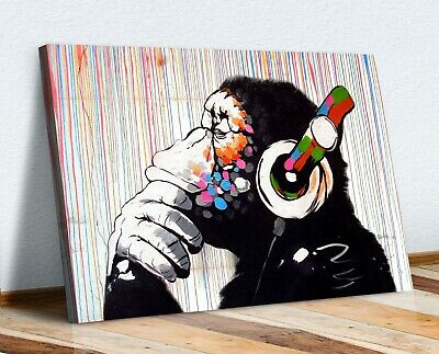 Banksy Thinking Dj Monkey Canvas Wall Art Picture Print Artwork Gorilla • 12.99£