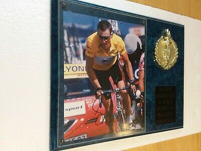 Lance Armstrong Signed Tour De France Photo On A Plaque With Coa • 72.36£