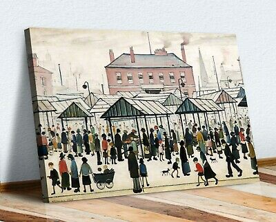 Ls Lowry MARKET SCENE NORTHERN TOWN CANVAS WALL ART PRINT ARTWORK PAINTING • 12.99£
