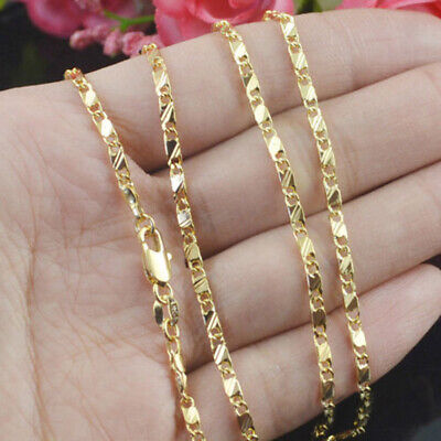 $4.89 • Buy Hip Hop 18k Gold Filled Curb Cuban Mens Womens Figaro Chain Necklace 16-30 Inch