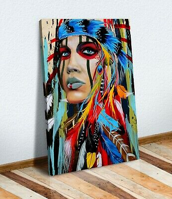 Canvas Wall Art Print Picture Abstract Painting NATIVE AMERICAN INDIAN WOMAN • 12.99£