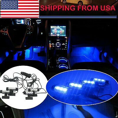 $6.45 • Buy 4 X 3 LED Car Interior Atmosphere Blue Light Charge Floor Decor Lamp Accessories