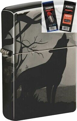 $38.86 • Buy Zippo 49188 Howling Wolf 2 Sided Black Ice Lighter With *FLINT & WICK GIFT SET*