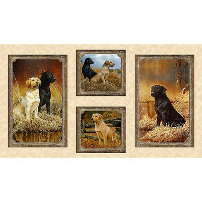 Dog Puppy Loyal Loveable Labs Labrador Picture  Quilting Fabric Panel 24  X 44  • 11.48£