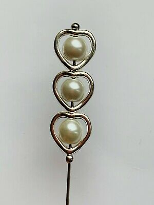 Long Silver Hat Pin Antique Vintage Style Ivory Glass Pearl With End Protector • 5.50£