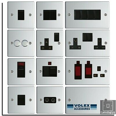 Volex Flat Polished Mirror Chrome Steel Light Switches And Electrical Sockets  • 9.49£