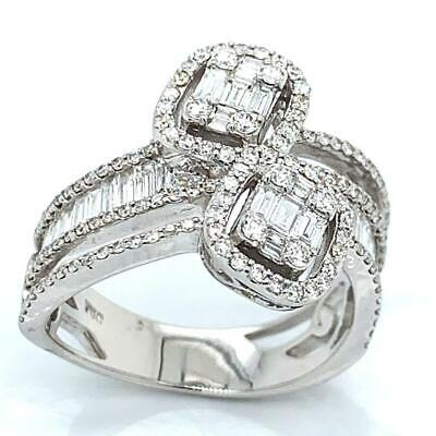 $1595 • Buy 1.26 TCW Baguette & Round Diamonds Bypass Ring In Solid 18k White Gold Size 6.5