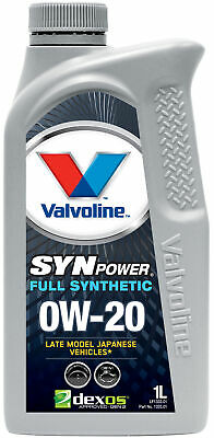 AU19.95 • Buy Valvoline Full Synthetic SynPower DX-1 Engine Oil 0W-20 1L 1333.01