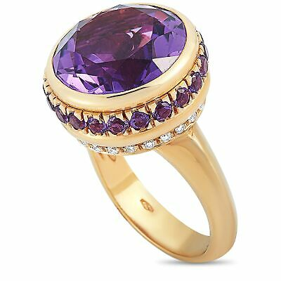 $1150 • Buy Oro Trend 18K Rose Gold 0.30 Ct Diamond, Amethyst And Sapphire Ring