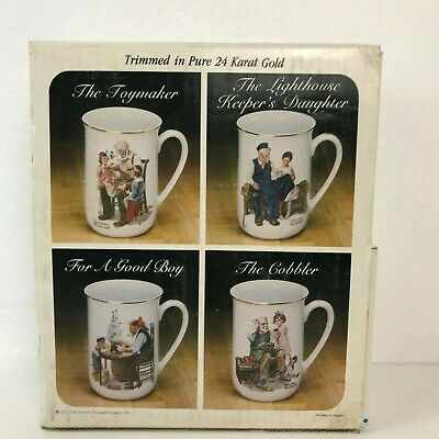 $ CDN52.83 • Buy Norman Rockwell Vintage Set Of 4 Collector's Coffee Mug Trimmed In 24 Karat Gold