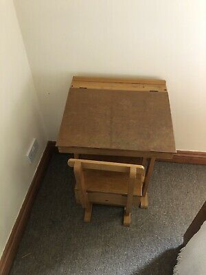 Vintage Wooden School Desk And Chair, Childrens, Refurbished,Retro Playroom Work • 50£