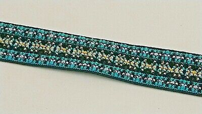 $ CDN5.84 • Buy 25mm (1 ) Blue, White & Yellow Patterned Coloured Woven Elastic