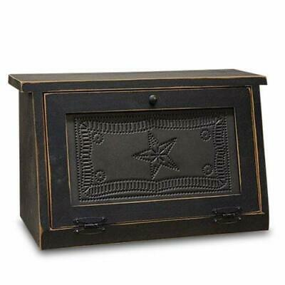 $160.63 • Buy Rustic Farmhouse Solid Wood And Tin Breadbox With Star Punch Design. Vintage