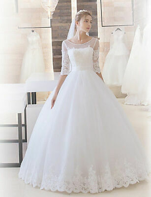 AU399 • Buy B886 Ball Gown Neckline Sweep Brush Train Tulle Wedding Dress Lace All Size O