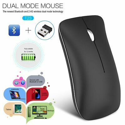AU8.86 • Buy Wireless Bluetooth Mouse 2.4GHz Rechargeable Optical Mice For Macbook Laptop PC
