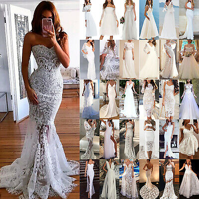 Womens Lace White Evening Party Prom Ball Gown Formal Bridesmaid Wedding Dresses • 30.59£