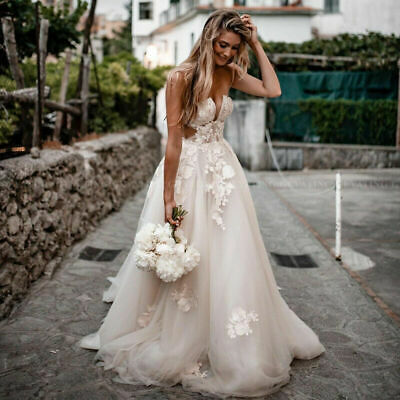 $ CDN202.56 • Buy Rustic Lace Wedding Dresses Sweetheart Backless Appliques Country Bridal Gowns