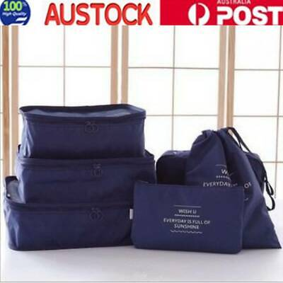 AU10.93 • Buy 6PCS Packing Cubes Travel Pouch Luggage Organiser Clothes Suitcase Storage Bags